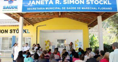 """Dezenas de pessoas participaram de uma ação do projeto """"Saúde em Movimento"""", desenvolvido pela Equipe de Estratégia de Saúde da Família (ESF) da Unidade Básica de Saúde Janeta R. Simon Stöckl, em Santa Maria de Marechal."""